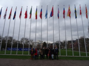 group of students in front of the Council of Europe