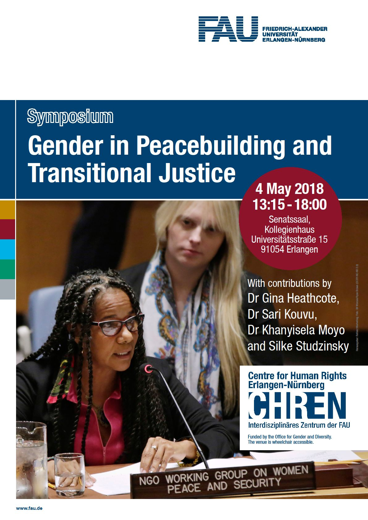 poster announcing the symposium on Gender in Peacebuilding and Transitional Justice