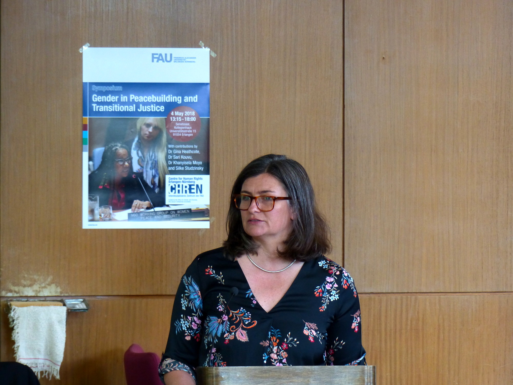 Dr. Gina Heathcote speaks at the Symposium on Gender and Peacebuilding and Transitional Justice