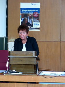 Silke Studzinsky speaks at the Symposium on Gender and Peacebuilding and Transitional Justice