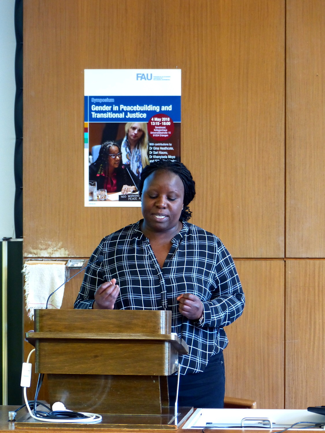 Dr. Khanyisela Moyo speaks at the Symposium on Gender and Peacebuilding and Transitional Justice