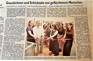 "picture of the article about the exhibition ""Starting Over!"" in the Erlanger Nachrichten"