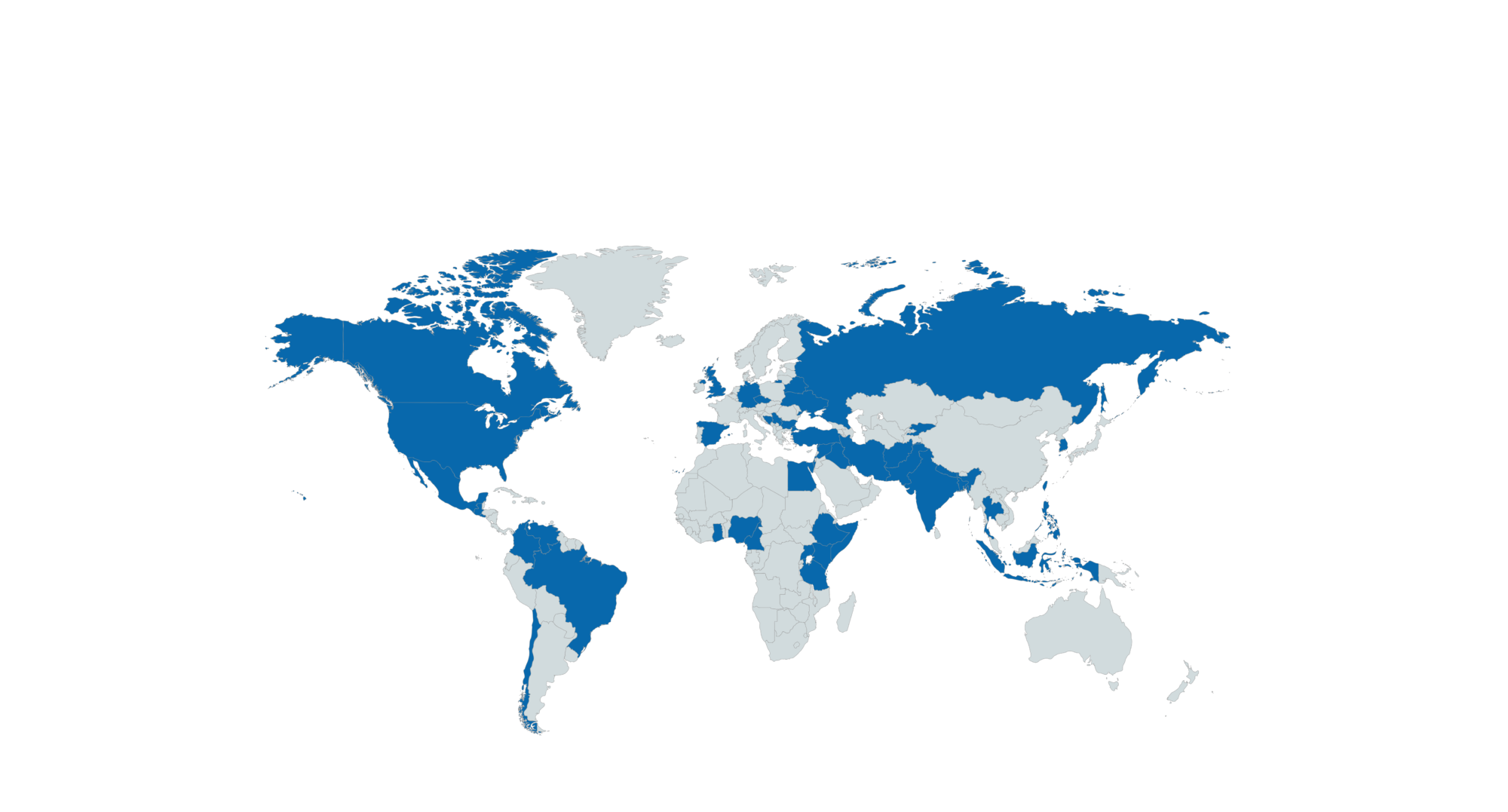 World Map with the Countries of origin of the students of the Master for Human Rights marked in Blue