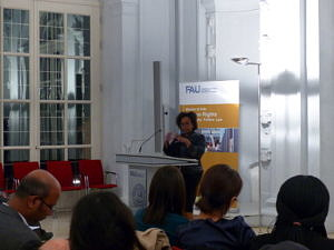 Picture of Human Rights Activist Betty Murungi speaking at the Opening of the Human Rights Master