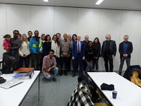 Group picture of the M.A. Human Rights Class, Dr. Possi, Prof. Bielefeldt and PD Krennerich